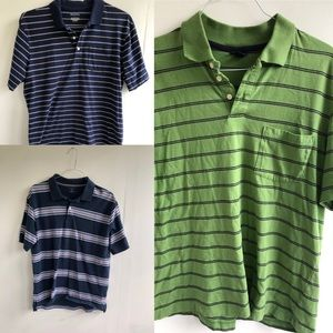 Men's Polo Striped Collard Shirts Bundle Large